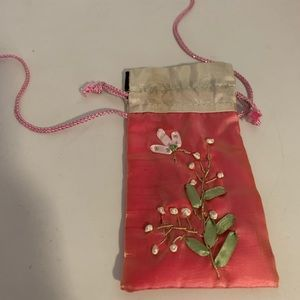 Oriental Pink Embroider Pouch with Long Drawstring